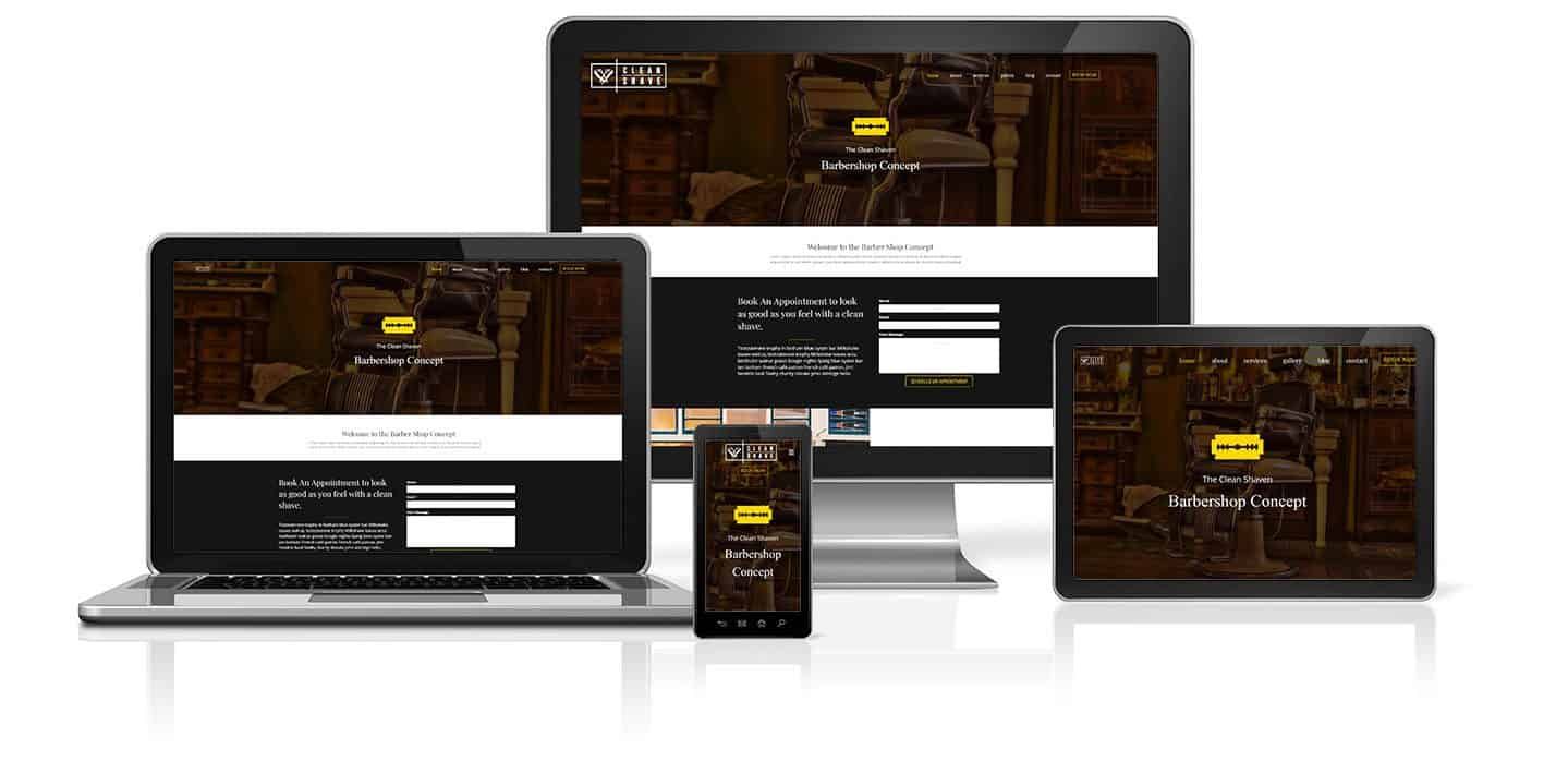 Barbershop WordPress Website Concept on a desktop, tablet, phone and laptop.