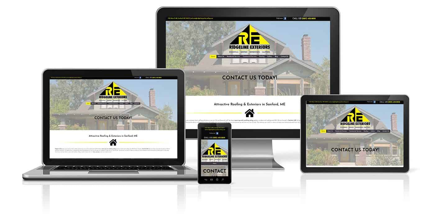 Ridgeline Exteriors Roofing WordPress Website on a desktop, tablet, phone and laptop.