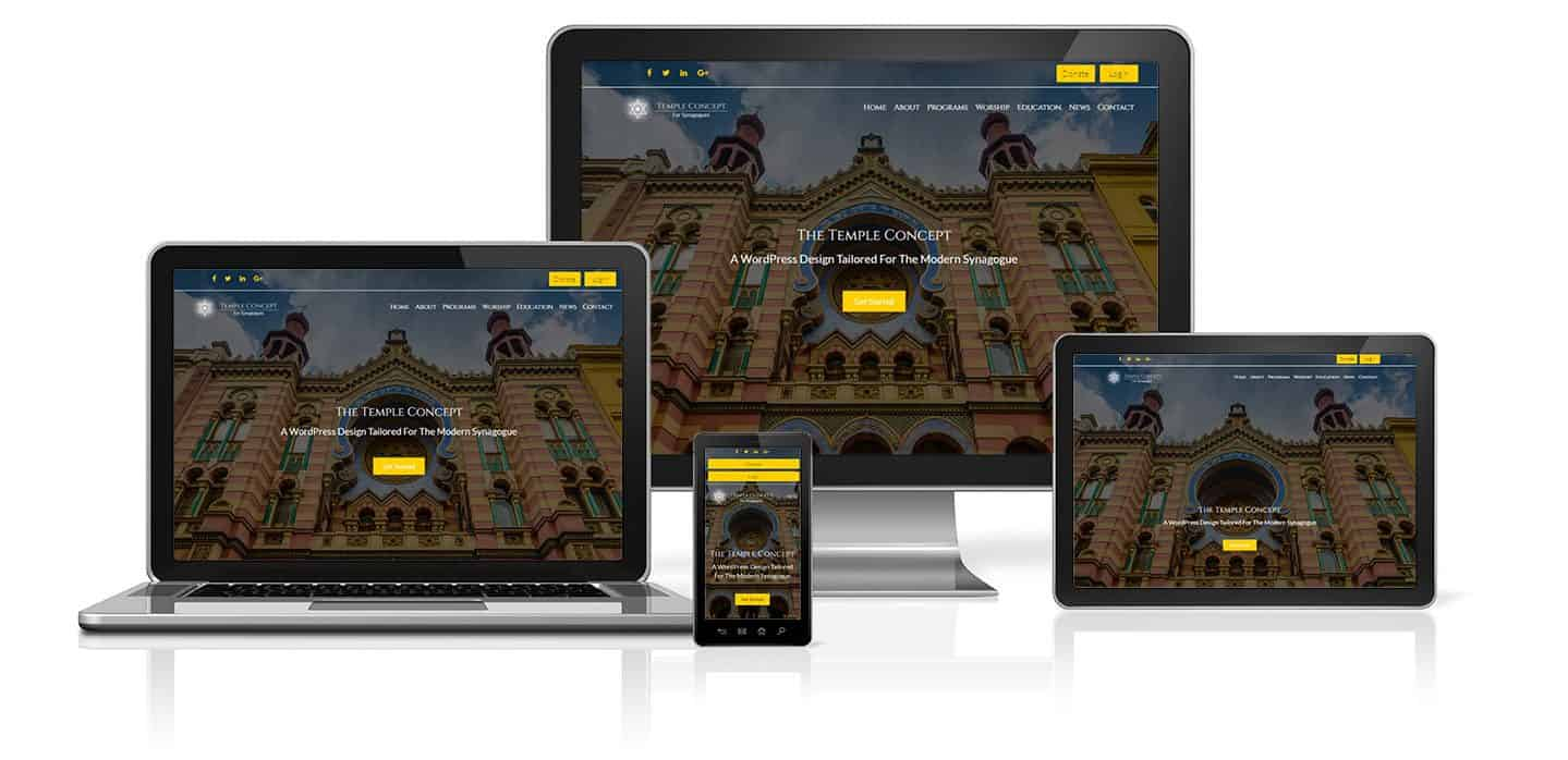 Synagogue WordPress Website Concept on a desktop, tablet, phone and laptop.