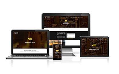 Barbershop Concept Portfolio on Desktop, Tablets and Mobile