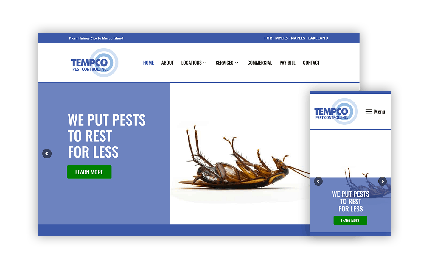 Tempco Pest Control Website in desktop and mobile view.